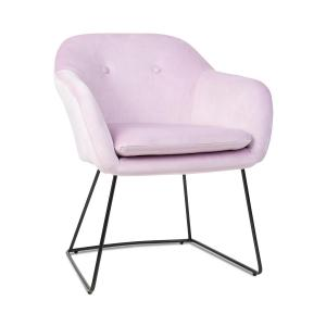 Zoe, fotel tapicerowany, tapicerka piankowa, obicie poliestrowe, aksamit, stal, różowy Różowy