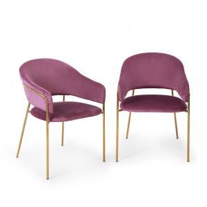 Salma Lot de 2 chaises de salle à manger métal chromé doré - Violet Violet