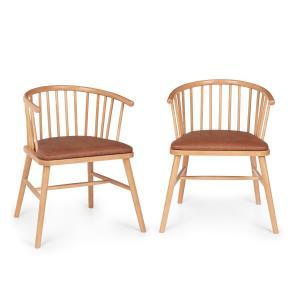 Nyssa, para krzeseł do jadalni, drewno bukowe, poduszki na siedzisko ze sztucznej skóry, brązowe