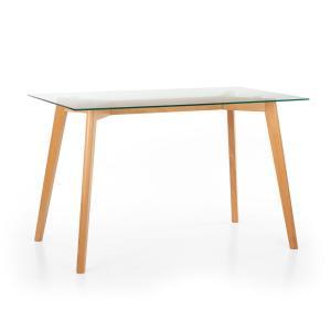 Nilsson, stół do jadalni z blatem szklanym, drewno bukowe, 120 x 75 x 70 cm, drewno