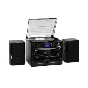 388-DAB+ Chaîne stéréo platine vinyle CD K7 Bluetooth FM DAB+ USB SD noir