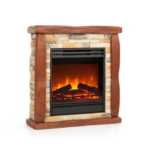 Lienz Electric Fireplace 1800W Stone Decor Polystone Remote Control Stone_optic_red_brown