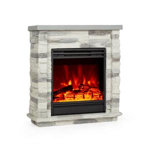 Lienz Electric Fireplace 1800W Stone Decor Remote Control Light Grey Stone_optic_light_grey