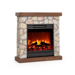 Lienz Electric Fireplace 1800W Stone Decor Remote Control Brown Stone_optic_brown