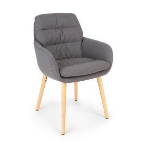 Doug, fotel tapicerowany, tapicerka piankowa, poliester, nogi drewniane, ciemnoszary Ciemnoszary