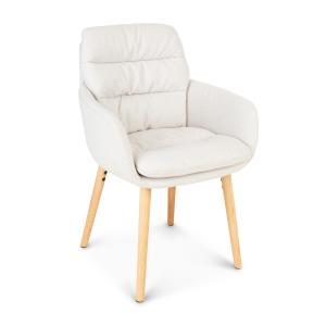 Doug, fotel tapicerowany, tapicerka piankowa, 100% poliester, nogi drewniane, kremowy Kremowy