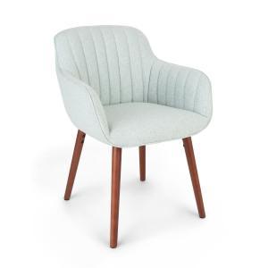 Iris, fotel tapicerowany, tapicerka piankowa, obicie poliestrowe, nogi drewniane, jasnozielony Jasnozielony