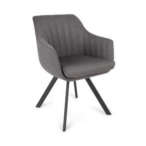 Roger chaise rembourrée mousse polyester pieds en acier gris foncé Gris foncé