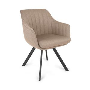Roger chaise rembourrée mousse polyester pieds en acier beige Beige