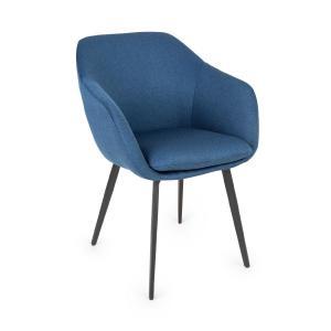 James, fotel tapicerowany, tapicerka piankowa, poliester, nogi stalowe, ciemnoniebieski Ciemnoniebiski