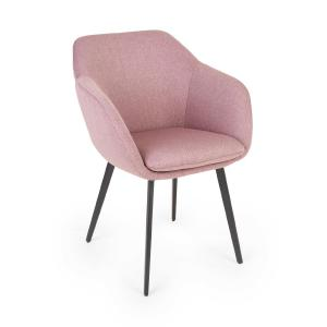 James, fotel tapicerowany, tapicerka piankowa, 100% poliester, nogi stalowe, różowy Różowy