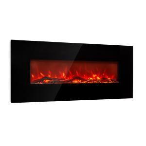 Lausanne Long Electric Fireplace 1600W 2 Heat Settings 128 cm Black Black
