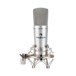 MIC-920 USB Condenser Microphone USB Headphone Output Plug & Play Silver Silver