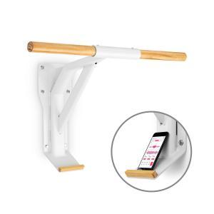 Light Pull-Up Bar Steel Wood Smartphone Holder White