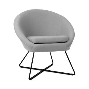 Emily Chaise rembourrée revêtement polyester pieds acier design rétro gris Flecked_grey