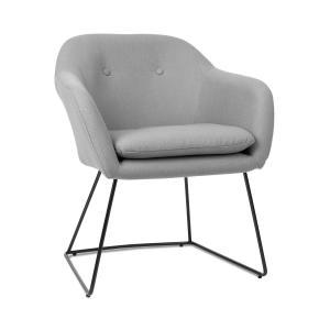Zoe, fotel tapicerowany, tapicerka piankowa, obicie poliestrowe, aksamit, stal, szary melanżowany Flecked_grey