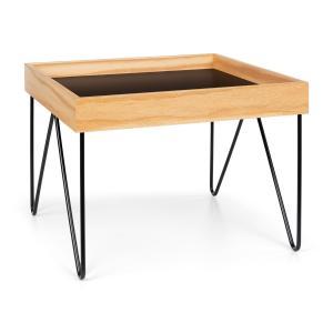 Big Lyon Coffee Table Melamine/MDF with Oak Veneer Steel Frame black 54,5 x 41 x 54,5 cm