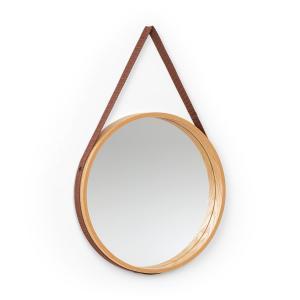 Lynn Espejo de pared de 35,5 cm Ø Contrachapado, chapado en roble, correa de plástico, madera