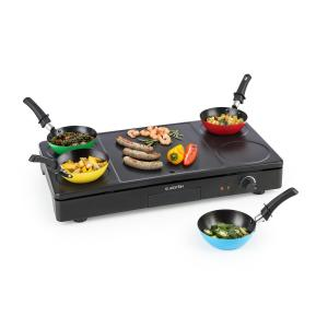 Partylette 3-in-1 Table Grill Wok Crêpe Maker 1000W 4 People Non-Stick