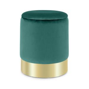 Gigi, stołek tapicerowany, 38 x 31 cm (wys. x Ø), schowek, zamsz, zielony Zielony
