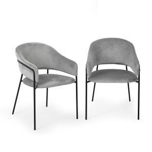 Salma, para krzeseł do jadalni, rama metalowa chromowana na złoto, szare Szary