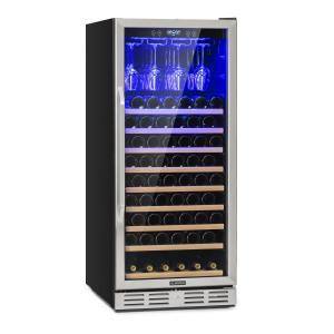 Vinovilla 127 Großraum-Weinkühlschrank 331L 127 Fl. LED Glastür Edelstahl 331 Liter | 1 Kühlzone