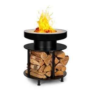 Wood Stock 2-in-1 Braséro Ø56cm & grill barbecue acier noir