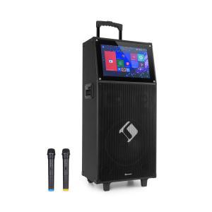 """KTV, zestaw karaoke, wyświetlacz dotykowy o przekątnej 39 cm (15,4""""), 2 mikrofony UHF, Wi-Fi, Bluetooth, USB, SD, HDMI, kółka"""