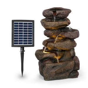 Savona, fontanna solarna, 2,8 W, tworzywo Polyresin, 5-godzinny czas pracy akumulatora, oświetlenie LED, imitacja kamienia