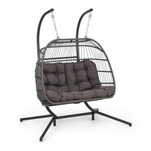 Biarritz Double, fotel wiszący, dwuosobowy, poduszka na siedzisko, 130 kg, ciemnoszary Twoseater