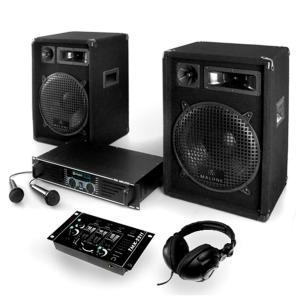 "PA Installatie ""Basstigall"" Set Versterker Boxen Microfoons 1200W"
