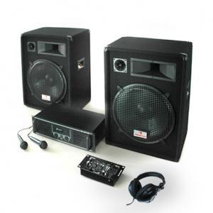 "PA Installatie ""Basstigall USB"" Set Versterker Boxen Microfoons 1600W"