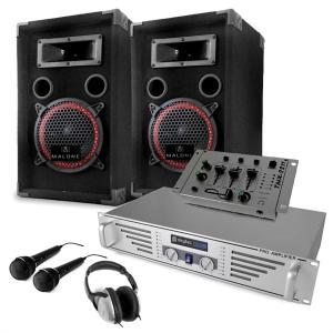 """Equipo DJ """"Starter"""" amplificador altavoces mezclador micros"""