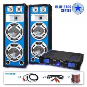 "PA Set Blue Star Series ""Basskern"" 1000 Watt Versterker LED Luidspreker"