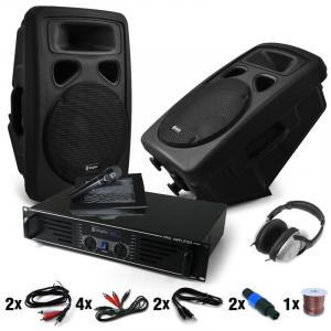 "DJ PA-set ""Bass Blast Force"" versterker PA-boxen 1000W"