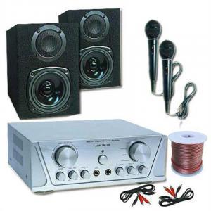 HVA 200 Karaoke-Anlage Monitorboxen Kompaktverstärker 100W RMS 2x Mikrofon