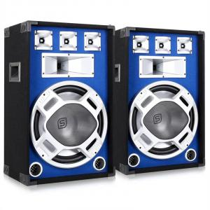 "Pair Skytec Blue LED 15"" Passive DJ PA Speakers - 1600W"