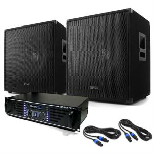 DJ PA System 'Lewis 1200 Bass' - Amplifier Subwoofer Set 1200W
