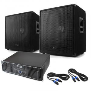 "DJ PA System 'Lewis 1600 Bass Hurricane' 17.7"" 1600W Set"