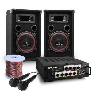 "PA System ""Bass Noon"" 600W Speaker Bundle with Karaoke Amplifier"