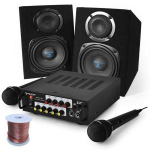 Karaoke 'EQ Sing' PA System Amplifier Speakers Mic Set