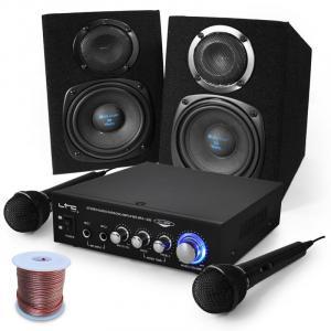 Sing Along karaokesetti, vahvistin, kaiuttimet, mikrofonit