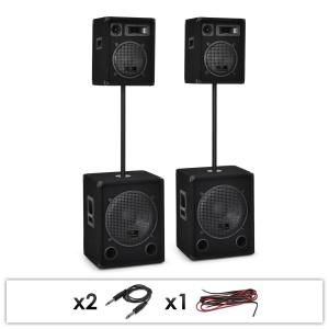 Auna 2.2 Dual Level Passive PA 2 x 1000W Woofer 2 x 400W Speakers