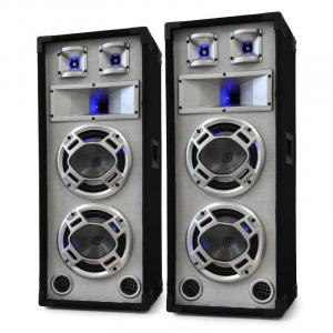 "Passive PA Speakers Dual 8"" Bass Drivers - White 1200W Pair"