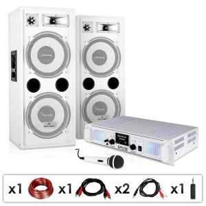 "DJ PA Anlage ""DJ-22"" PA-Verstärker 2x 350W, PA-Lautsprecher 500W RMS, dynamisches Mikrofon, Kabelset"