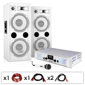 "DJ PA Set ""DJ-22"" Amplifier Speakers Microphone Cables 1000W Set"