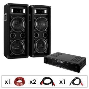 "DJ PA set ""DJ-24"" PA-versterker, luidspreker, 1200W"