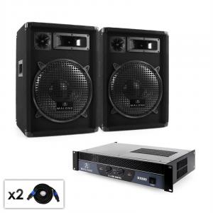 "Set DJ PA 2.0 ""Club"" Casse Amplificatore e cavi 800W"