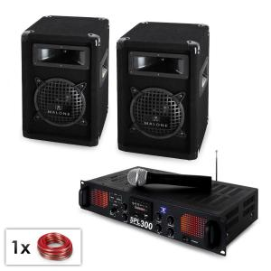"PA Set ""Malone SPLVHF"" Pair of 6.5"" speakers, VHF microphone & amp 300W"