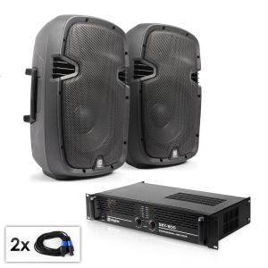 "PA Set ""SPJ Boom 10MKII"" Pair of 25cm Speakers & Amplifier 800W"